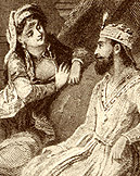 Queen Scheherazade telling her stories to King Shahryar